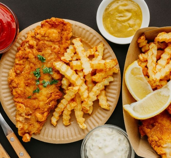 fish chips with cutlery